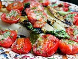 Grilling Tomatos and Romaine