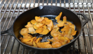 Chanterelles on a grill