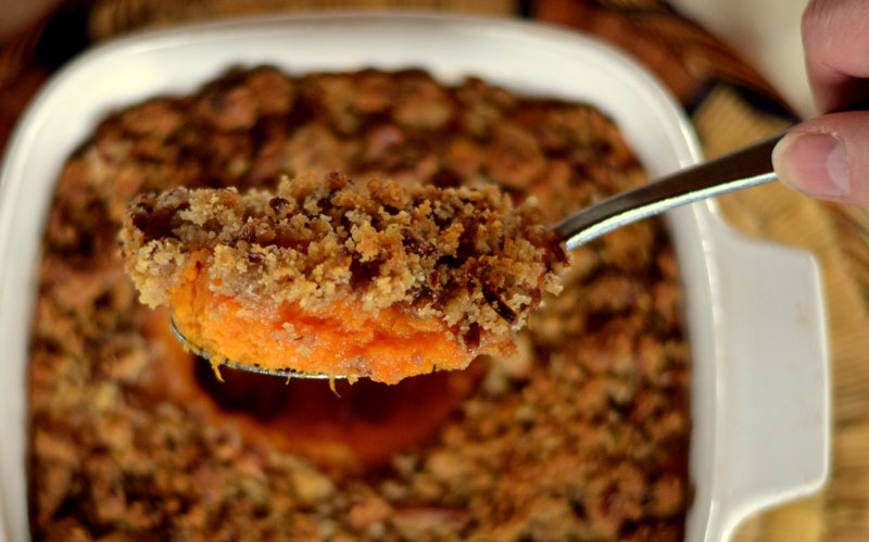 Sweet Potato Casserole on Pellet Grill