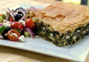 Traditional Spanakopita On Wood Fire Grill
