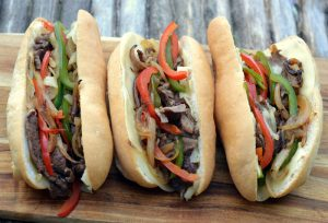 Philly Cheesesteak Grilled on Wood Fire Grill
