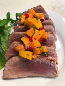 tuna steak with mango salsa