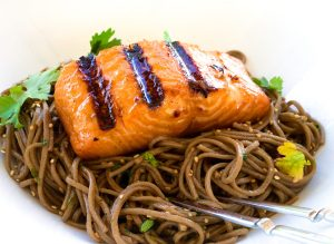 Grilled Miso Salmon with Soba